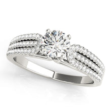 Load image into Gallery viewer, Cathedral Style Round Cut Engagement ring with Triple Row Pave Setting