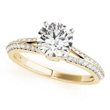 Load image into Gallery viewer, Round Cut Engagement Ring with Split Shank and Peekaboo Accents