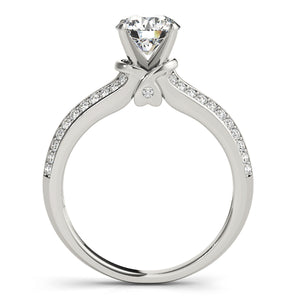 Round Cut Engagement Ring with Split Shank and Peekaboo Accents