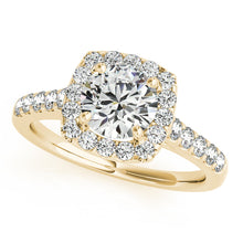 Load image into Gallery viewer, Accented Round Cut Engagement Ring with Cushion Halo
