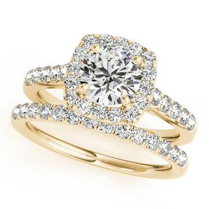 Accented Round Cut Engagement Ring with Cushion Halo