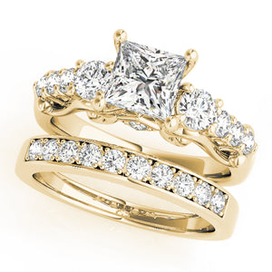 Princess Cut Three-Stone Filigree Engagement Ring with Accents