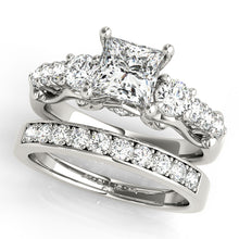 Load image into Gallery viewer, Princess Cut Three-Stone Filigree Engagement Ring with Accents