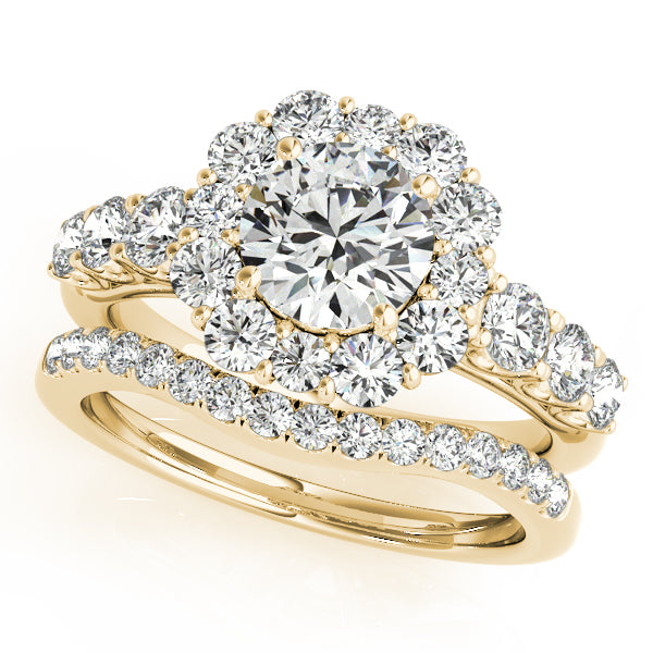 TRIO WEDDING SET 14K Yellow Gold Round Cut Flowered Halo with Scalloped Accents With Two Matching bands Included