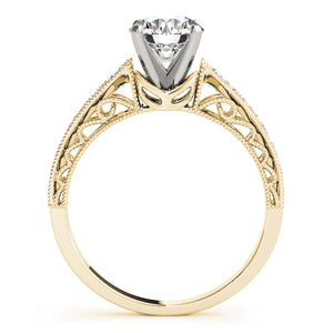 Classic Round Cut Engagement Ring with Pave Style Accents