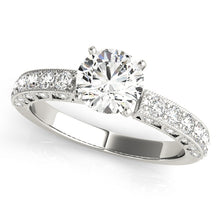Load image into Gallery viewer, Filigree Style Round Cur Engagement Ring with Accents