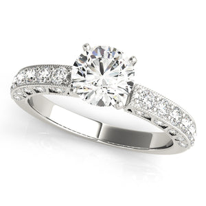 Filigree Style Round Cur Engagement Ring with Accents