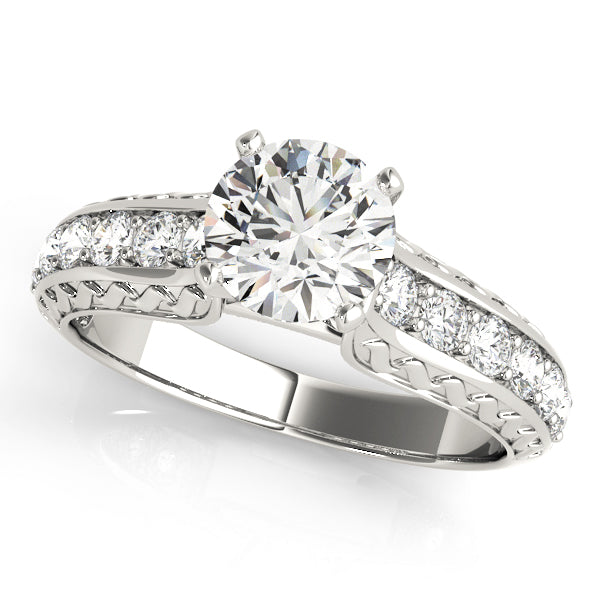 Glamorous Round Cut Engagement Ring with Vintage Style Filigree Accents