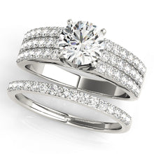 Load image into Gallery viewer, Round Cut Engagement Ring with Triple Pave Accented Shank