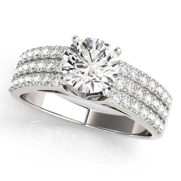 Round Cut Engagement Ring with Triple Pave Accented Shank