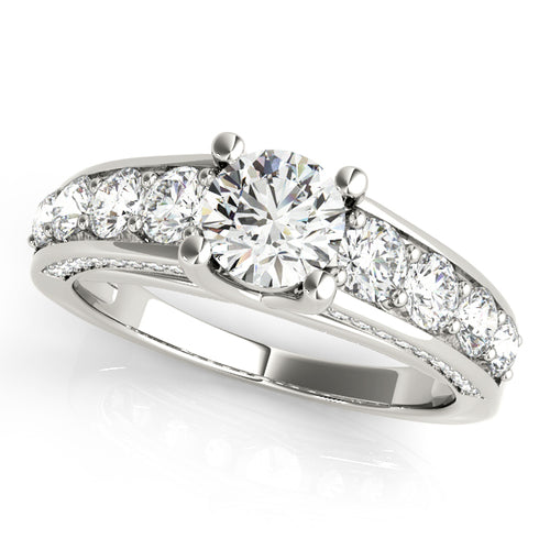 Crisscross Trellis Style Round Cut Engagement Ring