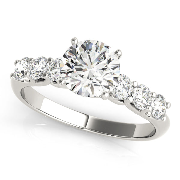 Unique Trellis Set Round Cut Engagement Ring with Accents
