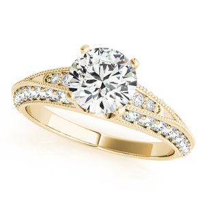 Accented Round Cut Solitaire with Milgrain