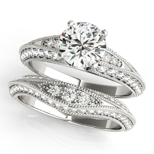 WEDDING SET 14K WHITE GOLDAccented Round Cut Solitaire with Migraine - Matching band included