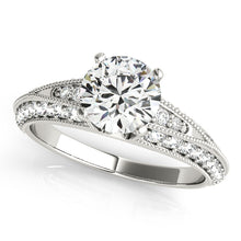 Load image into Gallery viewer, Accented Round Cut Solitaire with Milgrain