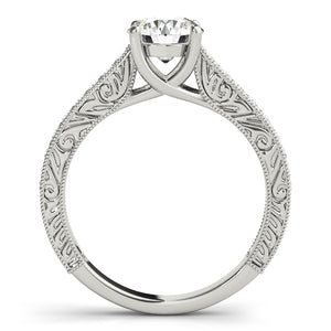 Round Cut Trellis Set Ring with Filigree Band