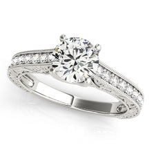 Load image into Gallery viewer, Round Cut Trellis Set Ring with Filigree Band