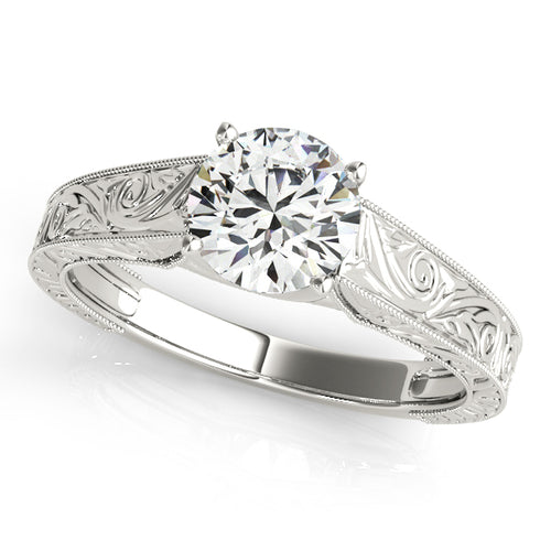 Antique Trellis Style Round Cut Engagement Ring