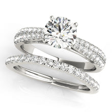 Load image into Gallery viewer, Cathedral Style Round Cut Engagement Ring with Pave Style Accents