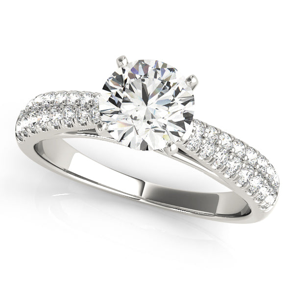 Cathedral Style Round Cut Engagement Ring with Pave Style Accents