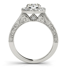 Load image into Gallery viewer, Antique Style Halo Engagement Ring with Filigree
