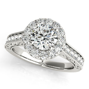 Antique Style Halo Engagement Ring with Filigree