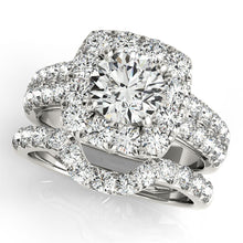 Load image into Gallery viewer, Round Cut Engagement Ring with Cushion Halo Accents