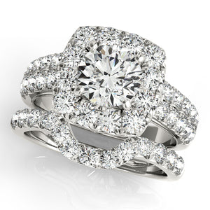 Round Cut Engagement Ring with Cushion Halo Accents