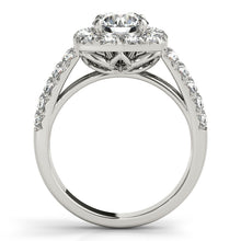 Load image into Gallery viewer, 14K White Gold - Round Cut Engagement Ring with Cushion Halo Accents