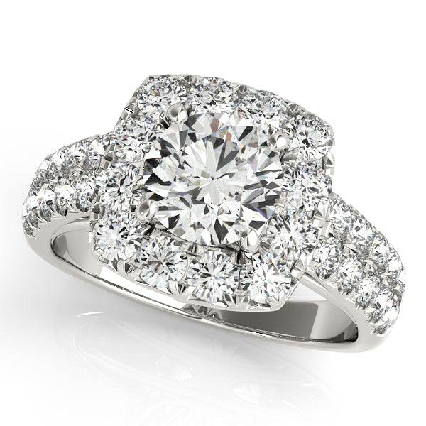 14K White Gold - Round Cut Engagement Ring with Cushion Halo Accents