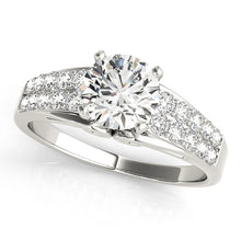 Load image into Gallery viewer, Round Cut Engagement Ring with Double-Row Pave Accents