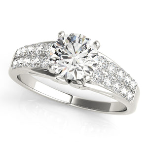 Round Cut Engagement Ring with Double-Row Pave Accents