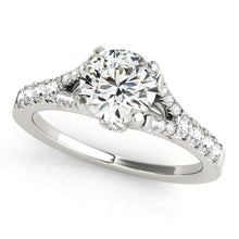 Load image into Gallery viewer, Round Cut Cathedral Style Engagement Ring with Graduated Accents