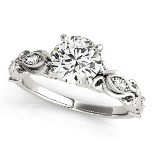 Round Cut Engagement Ring with Vintage Style Accents