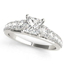 Load image into Gallery viewer, Princess Cut Trellis Mounted Ring With Tapered Accent Stones