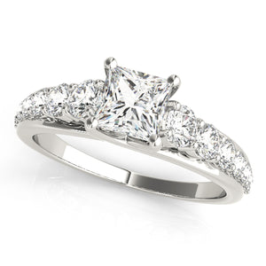 Princess Cut Trellis Mounted Ring With Tapered Accent Stones
