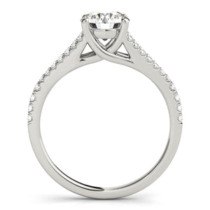 Round Cut Solitaire with Split Shank and Accented Undercarriage