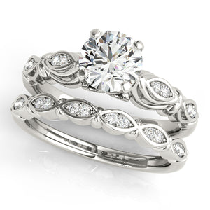 Round Cut Antique Inspired Engagement Ring with Accents