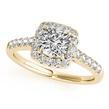Load image into Gallery viewer, Round Cut Accented Engagement Ring with Square Halo