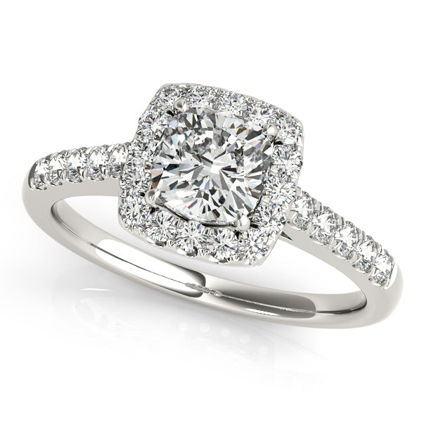 Round Cut Accented Engagement Ring with Square Halo