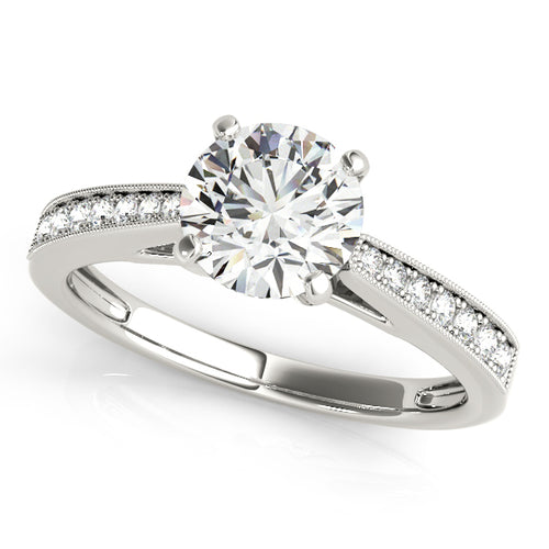 Cathedral Style Round Cut Engagement Ring