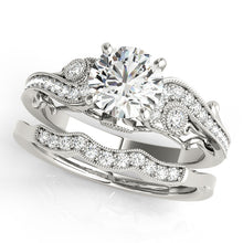 Load image into Gallery viewer, Antique Style Round Cut Pave Setting Engagement Ring with Accents