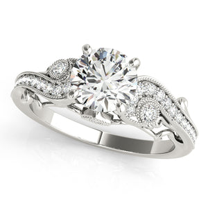 Antique Style Round Cut Pave Setting Engagement Ring with Accents