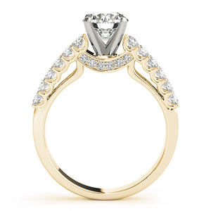 Round Cut Engagement Ring with Double Row of Accents
