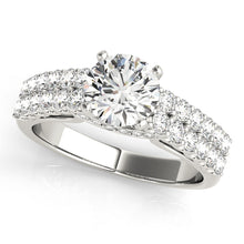 Load image into Gallery viewer, Round Cut Engagement Ring with Double Row of Accents