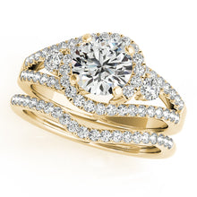 Load image into Gallery viewer, Split Shank Round Cut Halo Engagement Ring with Accents