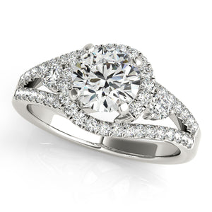 Split Shank Round Cut Halo Engagement Ring with Accents