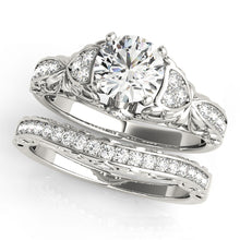 Load image into Gallery viewer, Cathedral Style Round Cut Engagement Ring with Intricate Accents