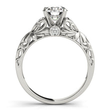 Load image into Gallery viewer, Wedding Set - 14K White Gold - Cathedral Style Round Cut Engagement Ring with Intricate Accents