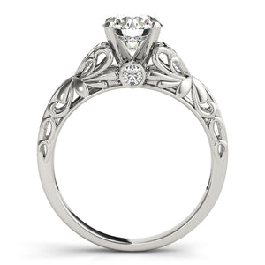Wedding Set - 14K White Gold - Cathedral Style Round Cut Engagement Ring with Intricate Accents